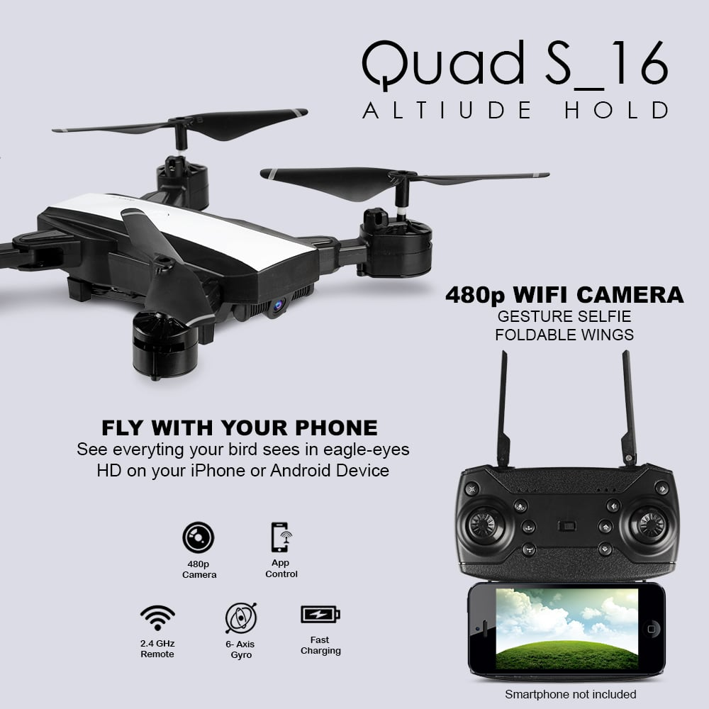 Quad S16 Drone With Wifi Camera & Rc App Control In White Color